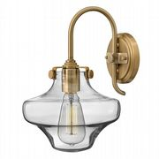 Congress Single Wall Light in Brushed Caramel with a Clear Glass Shade - HINKLEY HK/CONGRES1/B BC